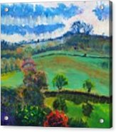 Colourful English Devon Landscape - Early Evening In The Valley Acrylic Print