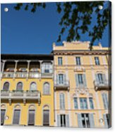 Colourful Facade Of Traditional Buildings In Como, Italy Acrylic Print