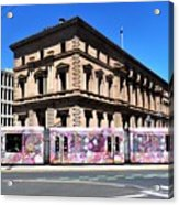 Colourful Tram At Old Treasury Building Acrylic Print