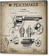 Colt .45 Peacemaker Revolver Patent  1875 Acrylic Print