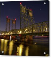 Columbia Crossing I-5 Interstate Bridge At Night Acrylic Print