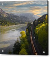 Columbia Gorge Train Acrylic Print