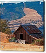 Columbia River Barn Acrylic Print by Peter Tellone