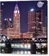 Columbus By Moonlight Acrylic Print