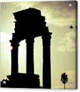 Column Sunset Temple Of Castor And Pollux In The Forum Rome Italy Acrylic Print