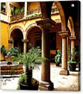 Columns And Courtyard Acrylic Print by Mexicolors Art Photography