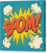 Comic Boom on Blue Acrylic Print