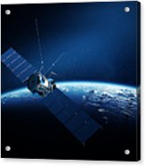 Communications Satellite Orbiting Earth Acrylic Print