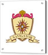 Compass Navigator Coat Of Arms Crest Retro Acrylic Print