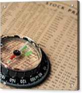 Compass On Stockmarket Cotation In Newspaper Acrylic Print