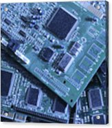 Computer Boards And Chips Lie In A Pile Acrylic Print
