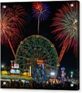 Coney Island At Night Fantasy Acrylic Print