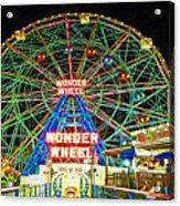 Coney Island's Wonderous Wonder Wheel In Neon Acrylic Print