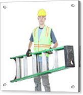 Construction Worker Carrying A Ladder Acrylic Print