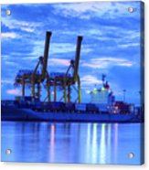 Container Cargo Freight Ship With Working Crane Bridge In Shipya Acrylic Print by Anek Suwannaphoom
