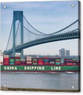 Container Ship Passing The Verrazano Bridge Acrylic Print