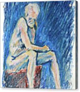 Contemplative A Nude Male Oil Pastel Drawing In Blue Acrylic Print