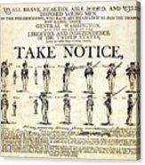 Continental Army Recruitment Broadside Acrylic Print by Everett