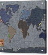 Continental Denim World Map Acrylic Print