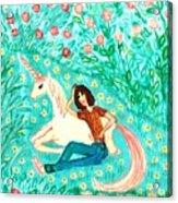 Conversation With A Unicorn Acrylic Print