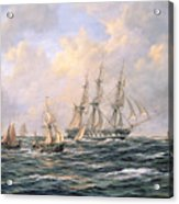 Convoy Of East Indiamen Amid Fishing Boats Acrylic Print by Richard Willis