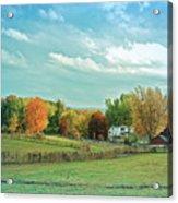 Cool Blue Autumn Farm Acrylic Print