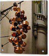 Cool Copper Pots - Parisian Restaurant Left Bank La Rive Gauche Acrylic Print