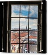 Copenhagen Cityscape And Roofs Behind A Window Acrylic Print
