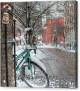 Copenhagen In The Winter.a Lonely Bike Acrylic Print