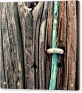 Copper Ground Wire And Knothole On Utility Pole Acrylic Print