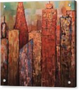 Copper Points, Cityscape Painting Acrylic Print
