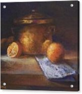 Copper Pot With Oranges Acrylic Print
