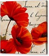 Coquelicots Rouge I Acrylic Print