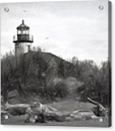 Coquille River Lighthouse Oregon Black And White Giclee Art Print Acrylic Print