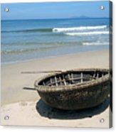 Coracle On Danang Beach Acrylic Print by Steven Scott