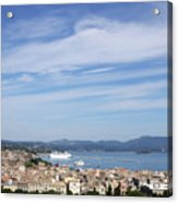 Corfu Town And Port With Cruiser Cityscape Acrylic Print
