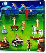 Corgi Backyard Circus Acrylic Print by Lyn Cook
