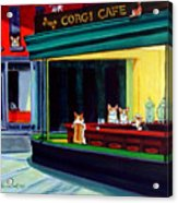 Corgi Cafe After Hopper Acrylic Print