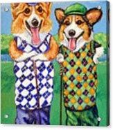 Corgi Golfers Pembroke Welsh Corgi Acrylic Print by Lyn Cook