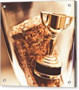 Cork And Trophy Floating In Champagne Flute Acrylic Print