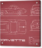 Corvette C1 Blueprint - Red Acrylic Print