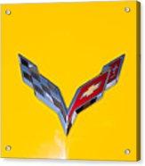 Corvette Emblem On Yellow Acrylic Print