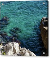 Cote D Azur - Stark White And Silky Azure Blue Acrylic Print