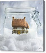 Cottage In Snow Acrylic Print
