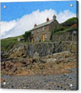 Cottage On Rocks At Port Quin - P4a16009 Acrylic Print