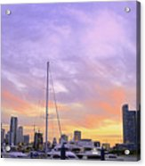 Cotton Candy Sunset Over Miami Acrylic Print