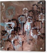 Cotton Impression In Brown And Teal Acrylic Print