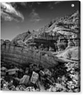 Cottonwood Creek Strange Rocks 3 Bw Acrylic Print by Roger Snyder