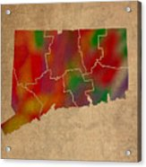Counties Of Connecticut Colorful Vibrant Watercolor State Map On Old Canvas Acrylic Print