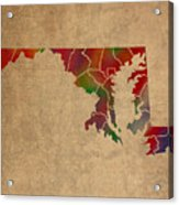 Counties Of Maryland Colorful Vibrant Watercolor State Map On Old Canvas Acrylic Print
